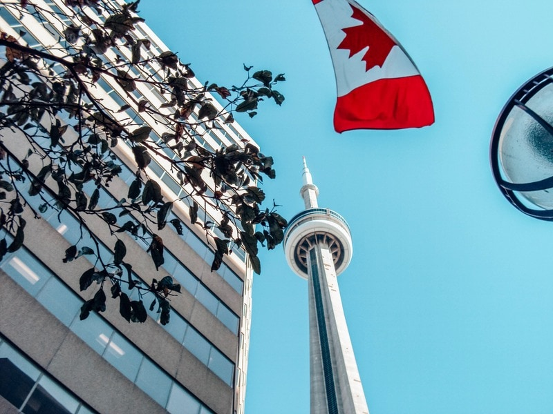 CN Tower & the Canadian Flag