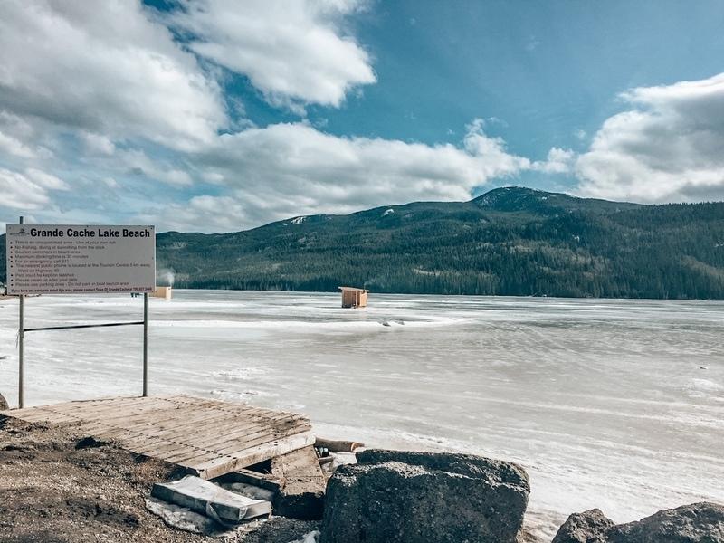Grande Cache Lake Beach in winter