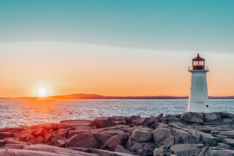 Peggys Cove Lighthouse at Sunset (Nova Scotia, Canada)