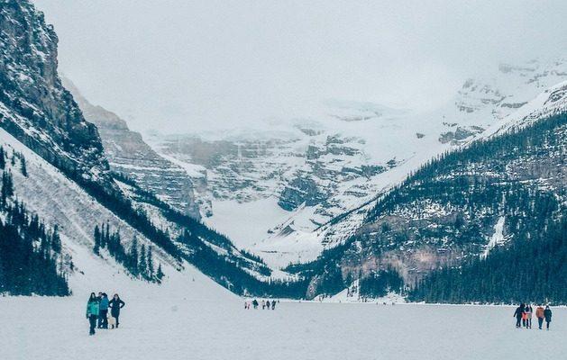 Frozen Lake Louise in winter