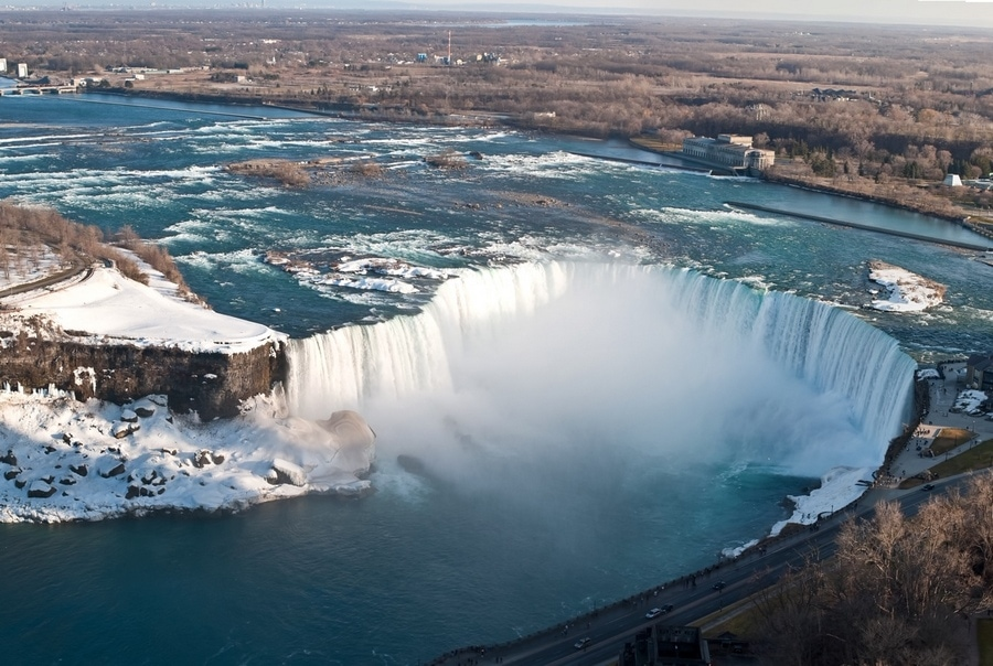 The Horseshoe Falls in Niagara Falls taken from above on the Canadian side.