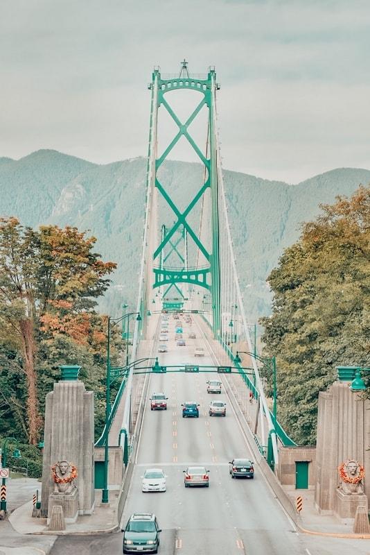 Lions Gate Bridge Entrance in Vancouver BC Canada