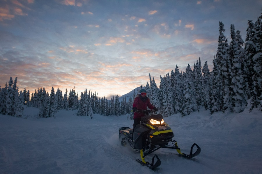Snowmobiling in Whistler Canada winters