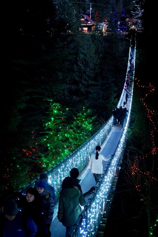 The Capilano suspension bridge in Vancouver, Canada is lighted up for Christmas