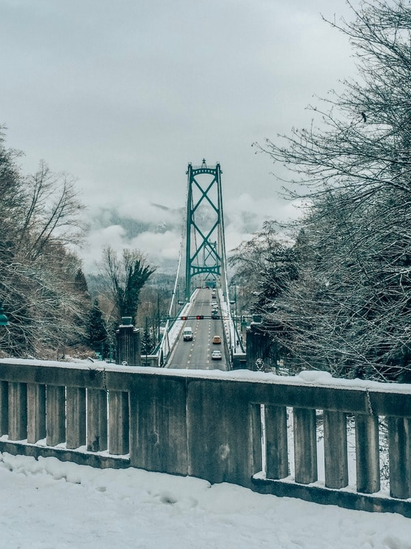 Lions Gate Bridge from Prospect Point Lookout in winter