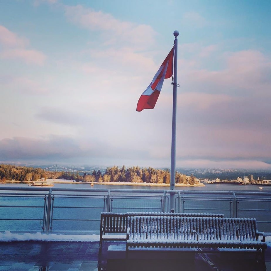 Views from Canada Place Vancouver in winter