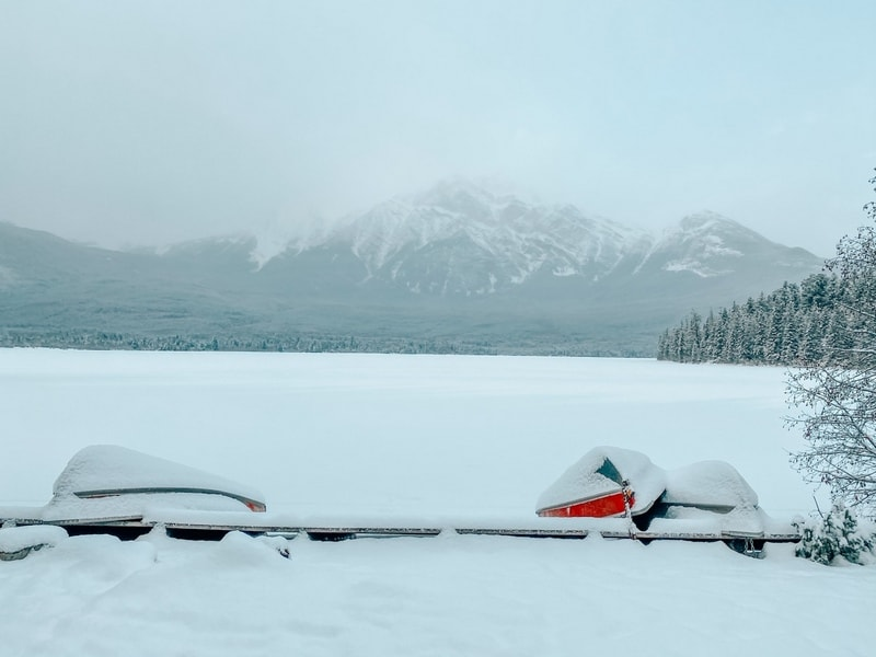 Snow covered Pyramid Lake in winter