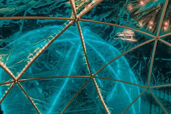 Inside the winter igloo in Riverside Bistro Edmonton
