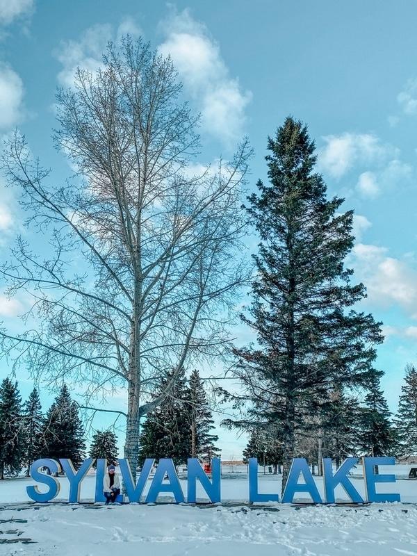 Sylvan Lake Sign in winter