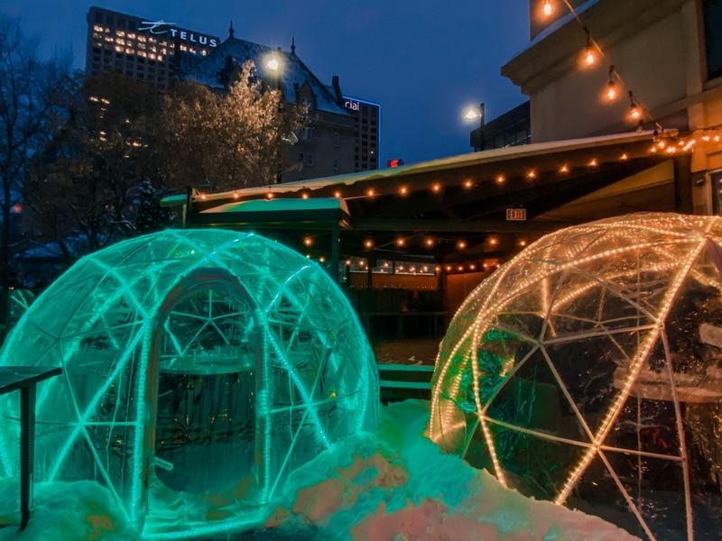 Winter igloos YEG Review Riverside Bistro Edmonton