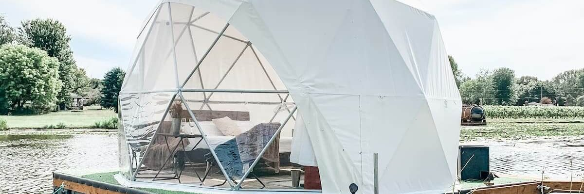 Floating geodesic dome one of the Best airbnbs in Canada