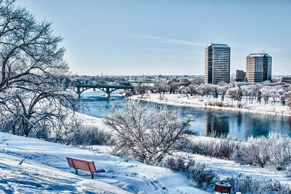 Bridges and Downtown buildings, River Valley Trails in Saskatoon in winter