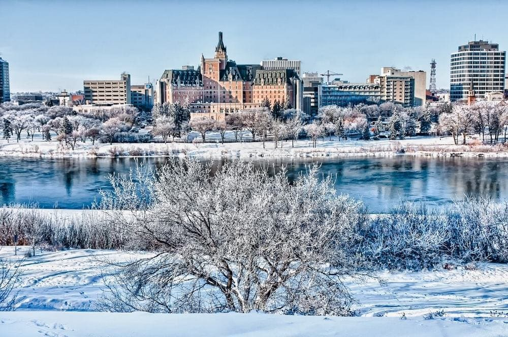 Delta Bessborough Hotel in Saskatoon in snow