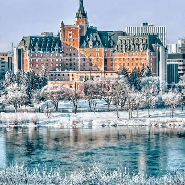 Delta Bessborough Hotel in Saskatoon in winter