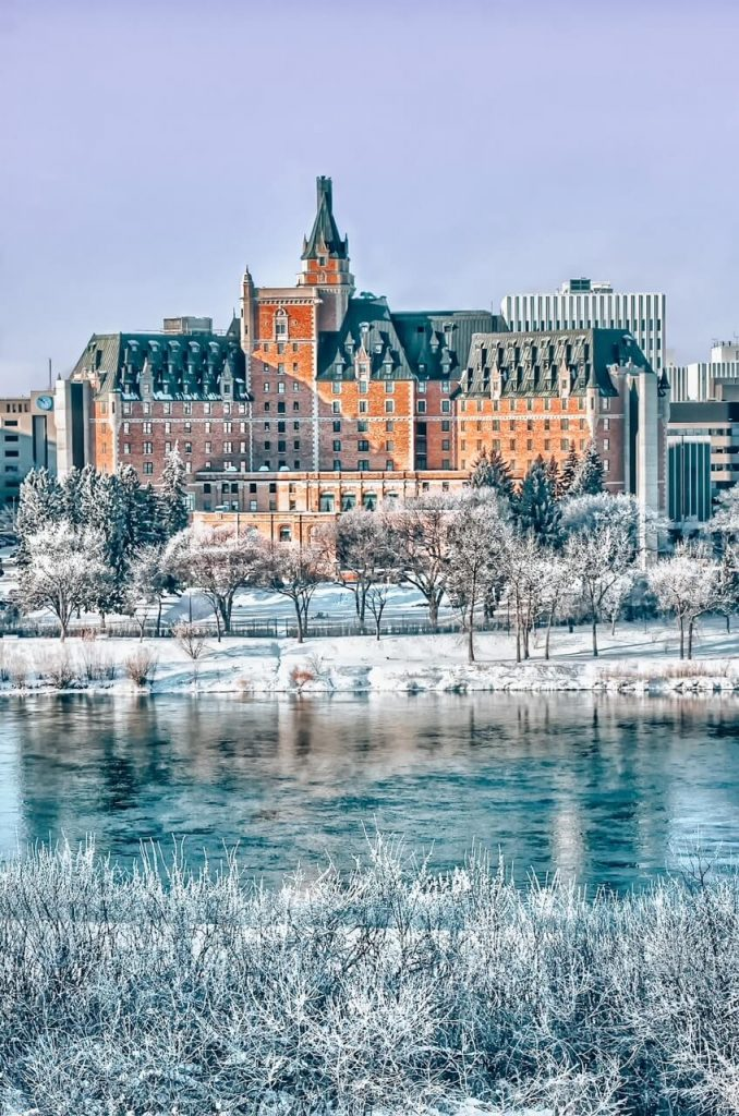 Delta Bessborough Hotel in Saskatoon in winter