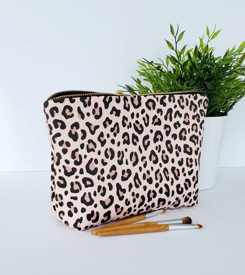 Pink leopard make up bag Best Canadian ETSY Shops