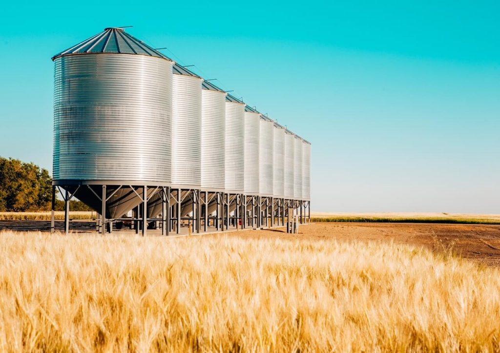 Wheat farm and grain silos in Saskatchewan