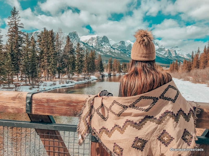 Views from Policemen's Creek Trail in Canmore in winter