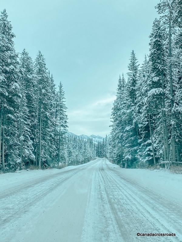 Winter scenic drive towards Spray Lakes Provincial Park