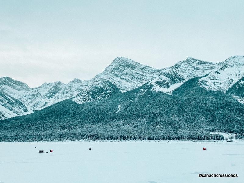 Ice fishing at Spray Lakes