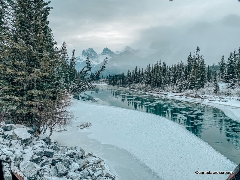 Three Mountains Range View from Bow Valley Loop Trail in Canmore in winter